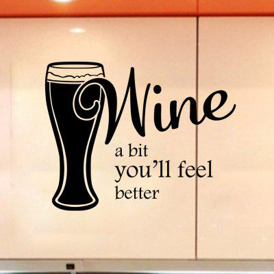 Wine A Bit You'll Feel Better Decal Home Decor Relax Quotes Kitchen Wall Sticker