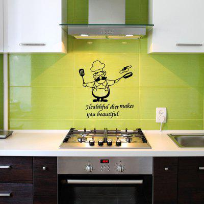 Funny Kitchen Wall Stickers Waterproof Vinyl Decals Chef Home Decorative Mural