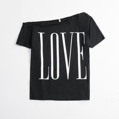 Ladies Round Neck Short Sleeve Loose LOVE Letter Printed T - Shirt