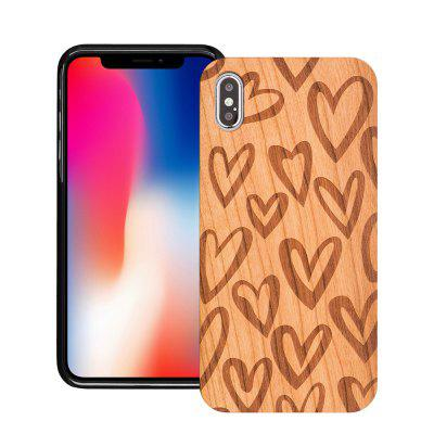 Heart-Shaped Cherry Wood Soft-Edge Phone Case for Iphone Xs Max
