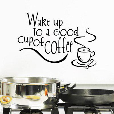 Wake Up To Coffee Wall Sticker Good Morning Wallpaper Living Room Decal Art