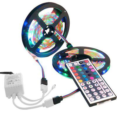2x5M 2835 300 LEDs RGB Strips with IR 44 Key Double Outlet Controller DC12V