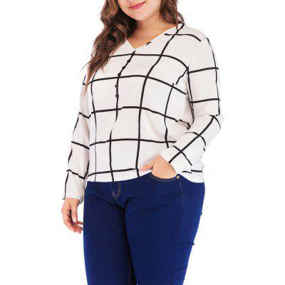 Women's  Large Size V-Neck Plaid Chiffon Wild Slim Casual Long Sleeves
