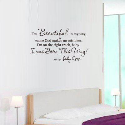 I Am Beautiful in My Way Art Apothegm Home Decal Wall Sticker Removable