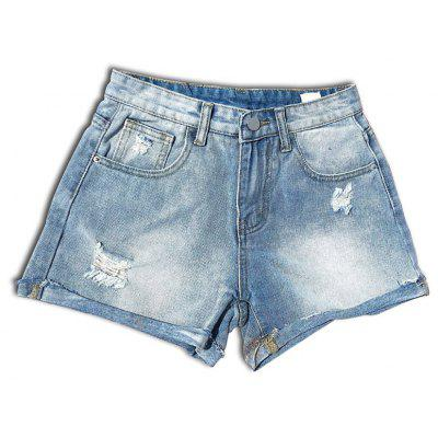 Wear White Loose Flanging High-Waisted Denim Shorts