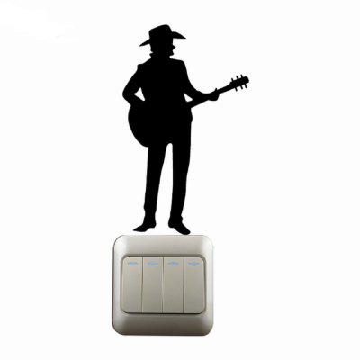 Man Playing Guitar Fashion Silhouette Interruttore Wall Sticker Music Style Decal Art