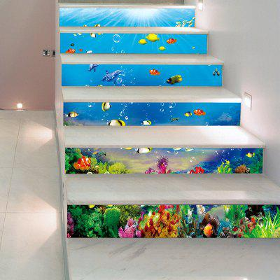 1 Set/6Pcs 3D Underwater World Stairs Sticker Fishes Coral Blue Ocean Decoration