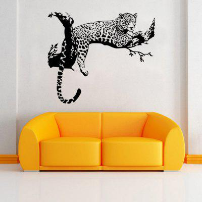 Animals Leopard Lying on The Branch PVC Wall Sticker for Kids Nursery Room Decor