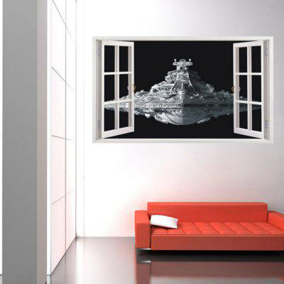 Spacecraft 3D PVC Wall Sticker for Kids Nursery Room Opening Window 3D Decal