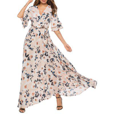 Fashion Printing V Neck Pagoda Sleeve Dress Maxi Dress