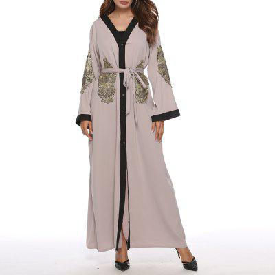 Elegant Embroidery Splicing Cardigan Long Sleeves Dress Arab Maxi Dress