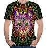 Sommer neue Blume Katze Muster 3D Print Kurzarm T-Shirt - MULTI