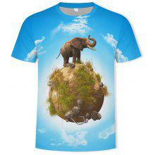 ac38690d1050 2019 Men s Fashion New 3D Stereo Elephant Pattern Short-Sleeved T-shirt
