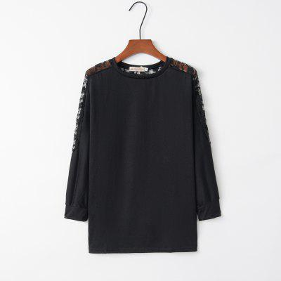 Bat Sleeve T-Shirt with Lace