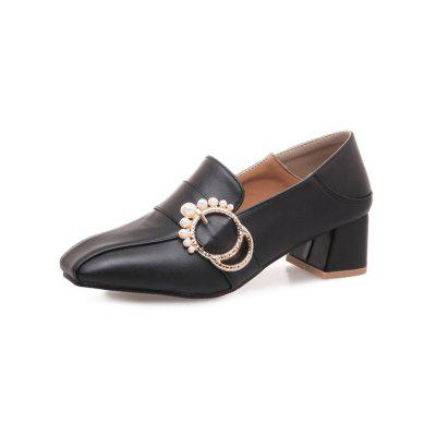 Spring and Summer Square Head Thick with Pearl Decorative Set of Foot Shoes