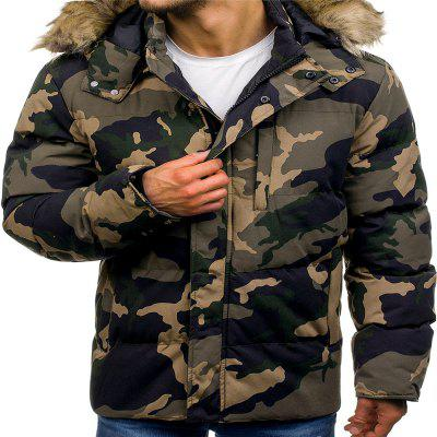 Men'S Fashion Thickened Down Cotton Camouflage Cotton Coat