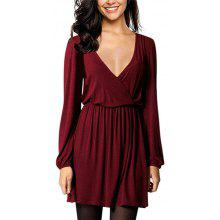 2509ee7ec54b5 2019 Spring and Autumn Women'S Casual Sexy V-Neck Party Mini Dress