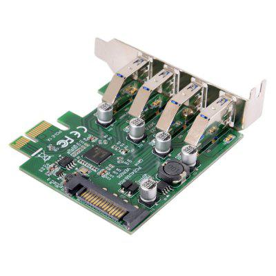 CableCC PCI-E 4 Ports to USB 3.0 HUB PCI Express Expansion Card Adapter 5Gbps