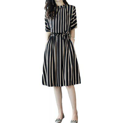 Summer Dresses Casual Striped Half Sleeve A Line Medium Dress