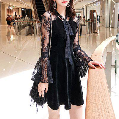 QEESI Sexy Lace Horn Sleeve Bow  Slim Dress