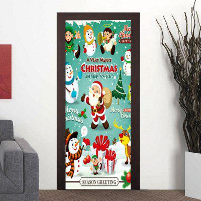 Corridor Paste 3D Christmas Snowman Elderly Decor Waterproof Door Sticker