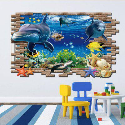3D Sea World Shark Fishes Adesivi murali a colori in pvc per bambini Nursery Room