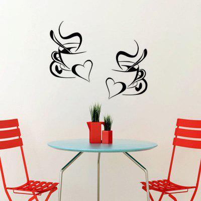 Kitchen Wall Sticker Coffee Cup with Heart Kitchen Vinyl Art Decor Decal