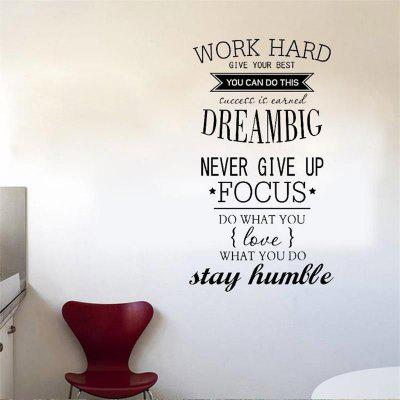 Werk hard Vinyl Quote Muurstickers Motiverende stickers Kinderstudies