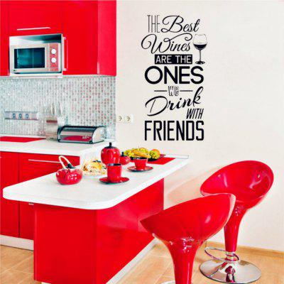 Kitchen Quotes Vinyl Decal The Best Wines With Friends Wall Sticker Dining Decor