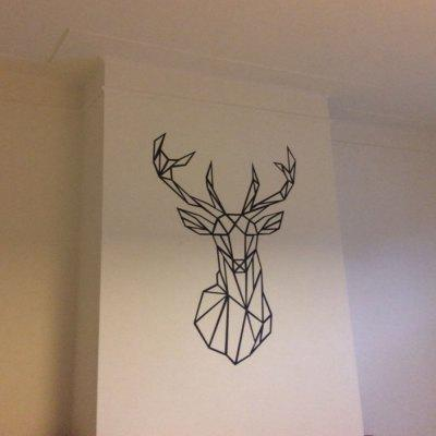 Geometric Deer Head Wall Sticker Modern Home Decor Geometry Animal Series Decals