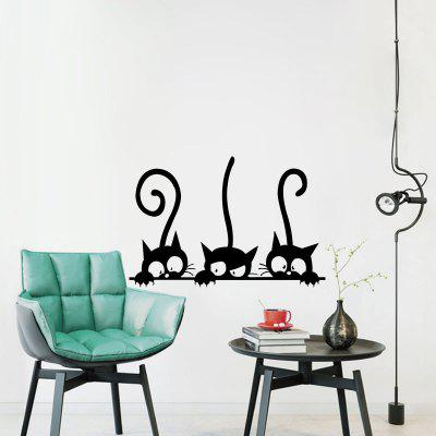 Three Tailed Kittens Vinyl Wall Stickers for Kids Cartoon Cats Decals Decoration