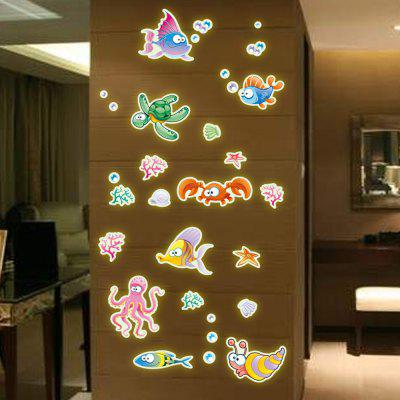 Rimovibile fluorescente 3D notte incandescente Sticker Cartoon Fishes Undersea Decor