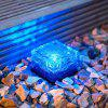 Solar Energy Ice Flower Brick Lamp Glass Ground Lamp LED Floor Lamp Outdoor Sola - BLUE