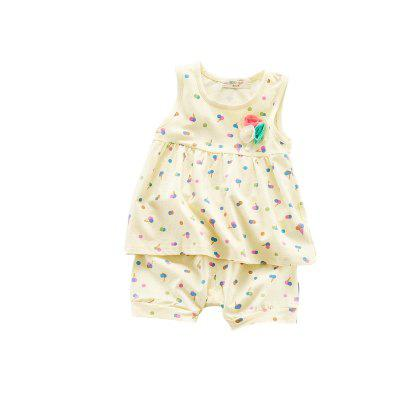 Baby Girl's Clothes  Ice-cream Vest And Shorts Set