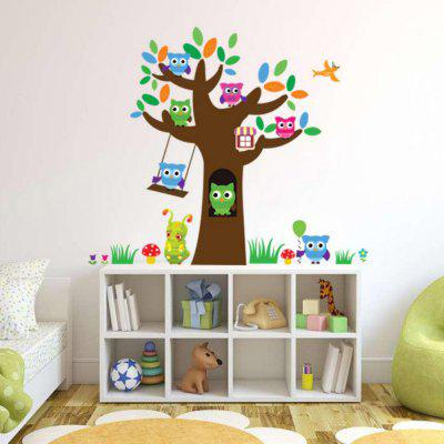 Owl Animals Large Tree PVC Full Color Wall Sticker Decal for Kids Nursery Room