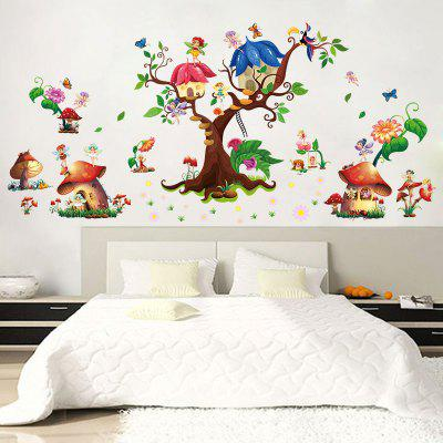 Mushroom House Wall Stickers PVC Large Trees Fairy Wall Decals for Baby Room