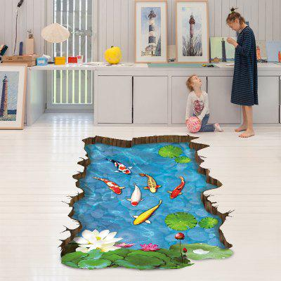3D Floor Decals Lotus Fishes Stickers Flowers Murals Living Room Home Decoration