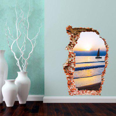3D Sea Wall Sticker Sunset Boating Removable Wall Stickers Living Room Decor