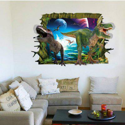 3D Two Dinosaurs Wall Stickers for Kids Animals Birds Pvc Decals Home Decoration