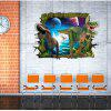 3D Two Dinosaurs Wall Stickers for Kids Animals Birds Pvc Decals Home Decoration - MULTI