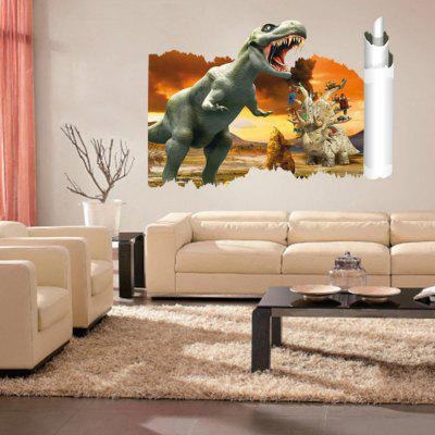 3D Scroll Painting Dinosaur Wall Sticker Antique Animals Decals Kids Room Decor