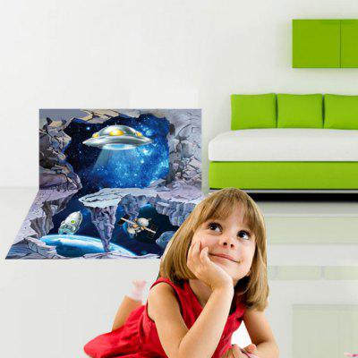 3D-vloerstickers / -stickers Planet Vinyl-stickers Space Ship Muursticker Kinderkamer