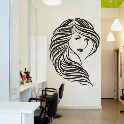 Salon de frumusețe Vinyl Removable Sticker de perete Long Hair Femei Decal Decorare