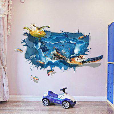 Sea Turtle 3D Wall Sticker Sea Fishes Wall Decals for Nursery Room Home Decor