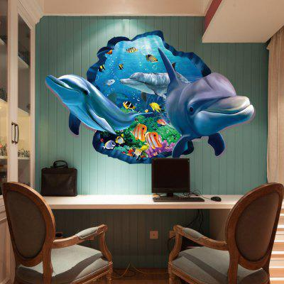 3D Dolphin Underwater Wall Sticker Sea Scenery Decals For Kids Room Decor