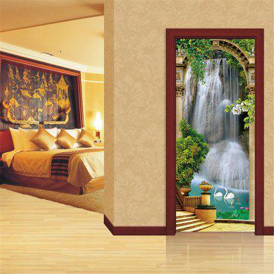 Personality Fashion 3D Door Stickers Waterfall Living Room Decorative Decor
