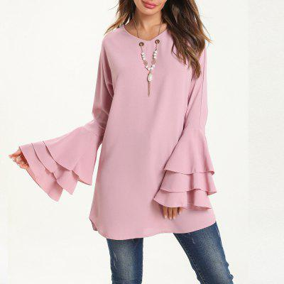 Fashion Elegance Long Sleeve Chiffon Blouse with Necklace