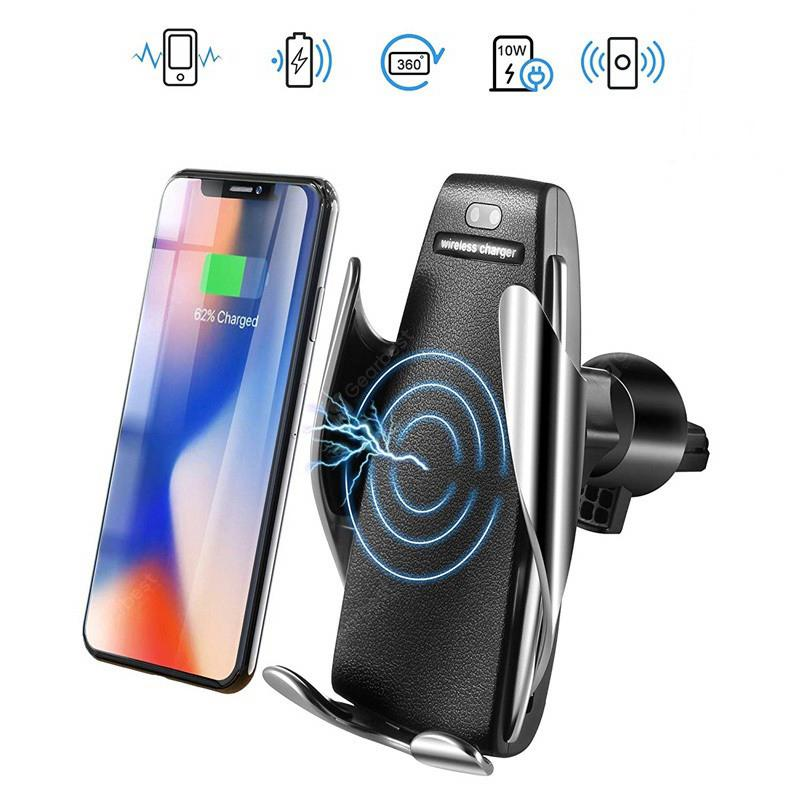 S5 Automatic Clamping Wireless Car Charger Air Vent Phone Holder - Black