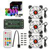 Wireless RGB LED Light 12cm Computer PC Case Cooling Fan CPU Cooler - BLACK