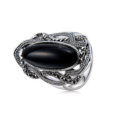 Silver-Plated Lace with Black Zircon-Inlaid Strips of Colored Crystal Ring